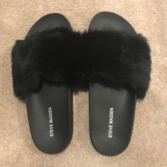 exclusive deals new concept amazing price Steve Madden Shoes | Black Furry Slides | Poshmark